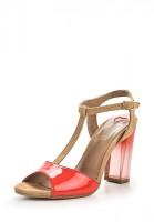Босоножки на каблуке Love Moschino JA16579C0ZJO150A бежевые, красные