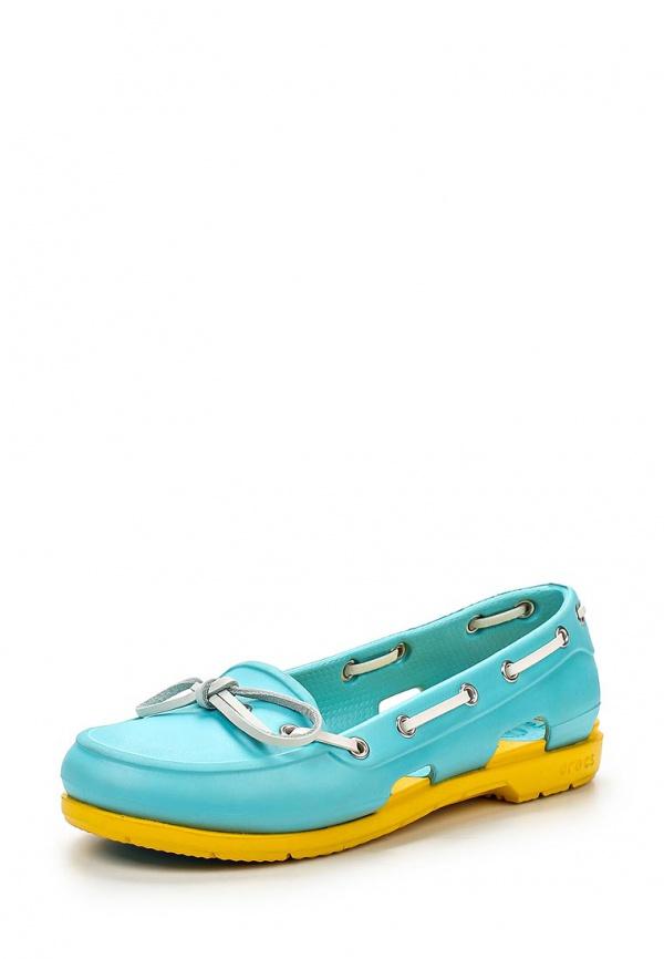 Топсайдеры Crocs 14261-442 голубые, жёлтые