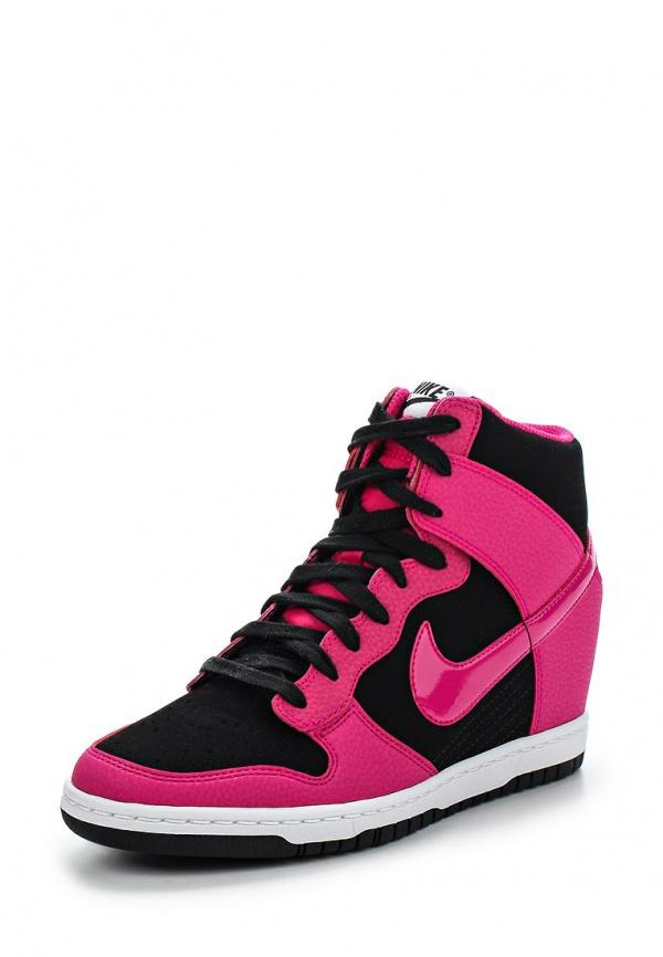 Кеды на танкетке Nike 644877-010 розовые, чёрные