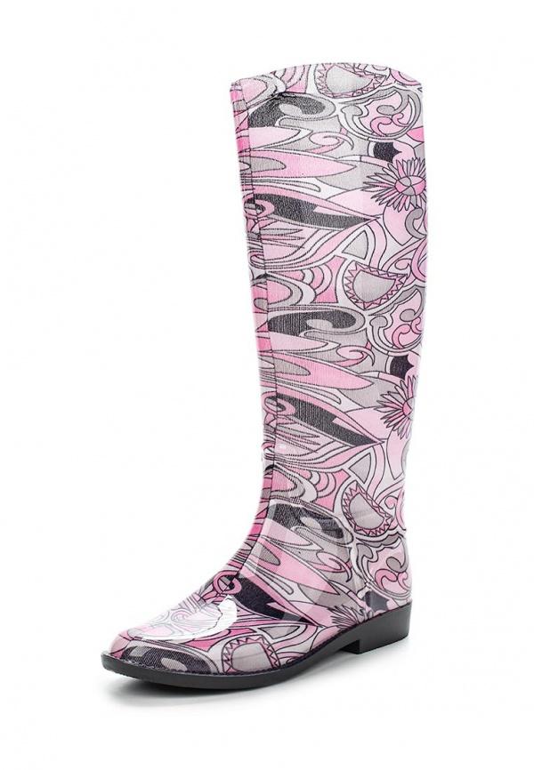 Резиновые сапоги SANDRA 365-00 РИСУНОК белые, розовые, чёрные