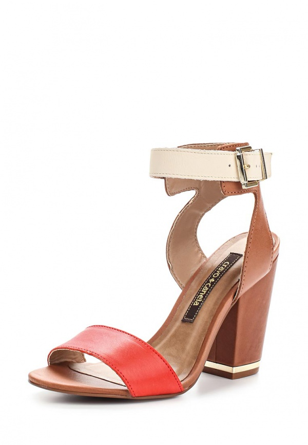 Босоножки Cravo & Canela 96012-5 бежевые, коричневые, красные