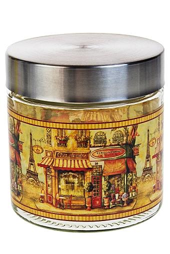 """Емкости для сыпучих и для жидкостей Красный куб Емкость для сыпучих продуктов """"Парижские улочки"""""""