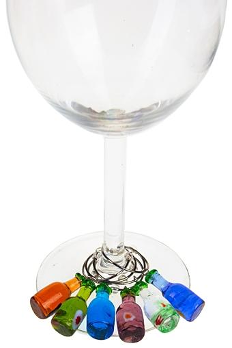 """Украшения и подвески для бокалов Красный куб Набор подвесок для бокала """"Бутылочки"""""""