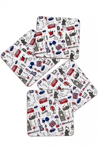 """Подставки под посуду Красный куб Набор подставок под чашку """"Лондон"""""""