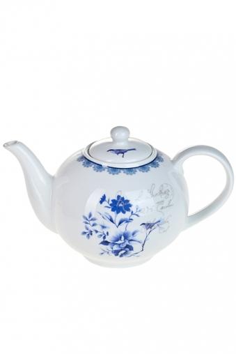 """Чайные наборы Красный куб Чайник завар. """"Синие цветы"""""""