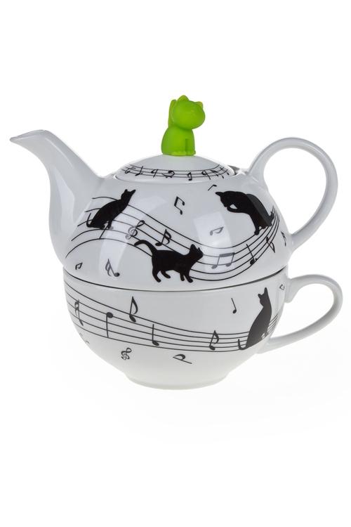"""Столовые наборы Красный куб Набор чайный """"Музыкальные кошки"""""""