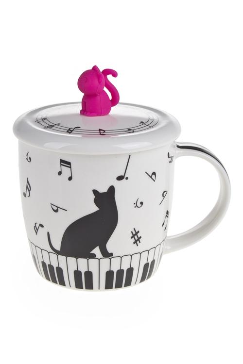 """Кружки с крышками Красный куб Кружка с крышкой """"Музыкальные кошки - 2"""""""