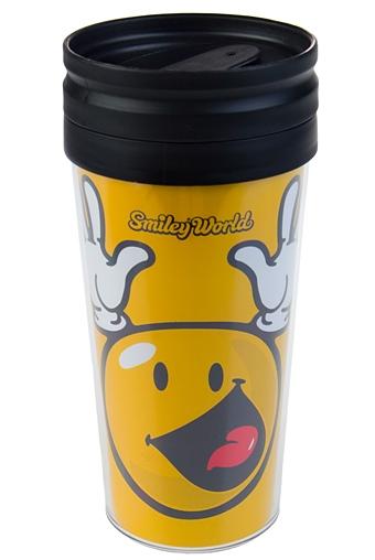 """Термокружки и стаканы для чая/кофе Красный куб Термокружка с крышкой """"Ликующий смайлик"""""""
