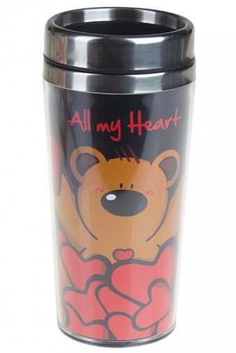 """Термокружки и стаканы для чая/кофе Красный куб Термокружка с крышкой """"В окружении сердец"""""""