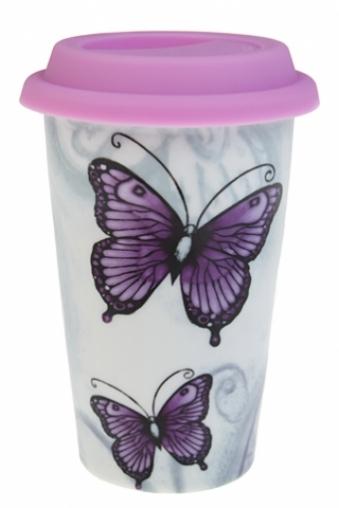"""Подарки для женщин Красный куб Стакан для чая/кофе """"Бабочка"""""""