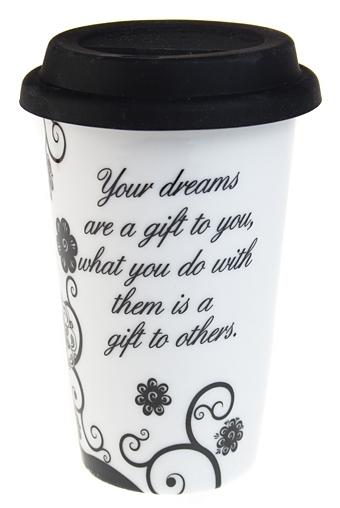 """Термокружки и стаканы для чая/кофе Красный куб Стакан для чая/кофе """"Черно-белый цветок"""""""