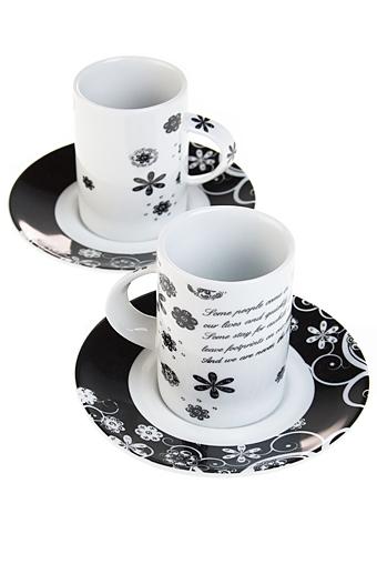 """Кофейные наборы Красный куб Набор для эспрессо """"Черно-белый цветок"""""""