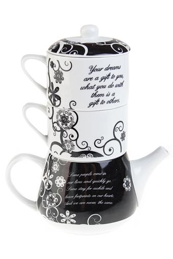 """Чайные наборы Красный куб Набор чайный """"Черно-белый цветок"""""""