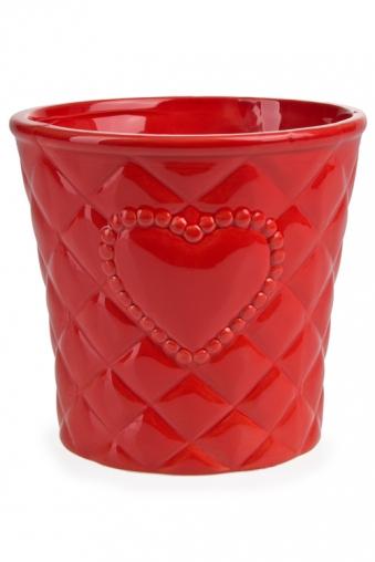 """Кашпо для цветов Красный куб Кашпо для цветов """"Стеганое сердце"""""""