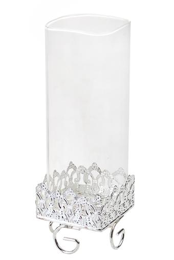 """Стеклянные вазы и кашпо Красный куб Ваза декор. """"Роскошь серебра"""""""