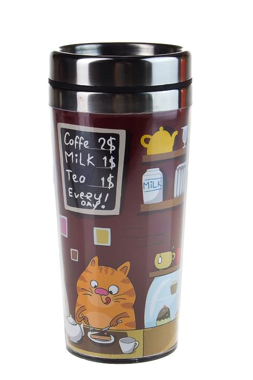 """Термокружки и стаканы для чая/кофе Красный куб Термокружка с крышкой """"Кошачьи посиделки"""""""