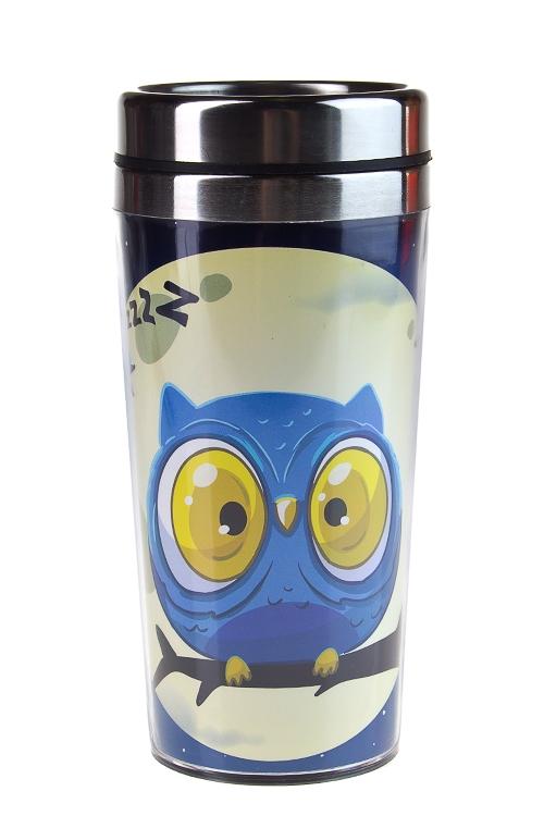 """Термокружки и стаканы для чая/кофе Красный куб Термокружка с крышкой """"Полуночная сова"""""""