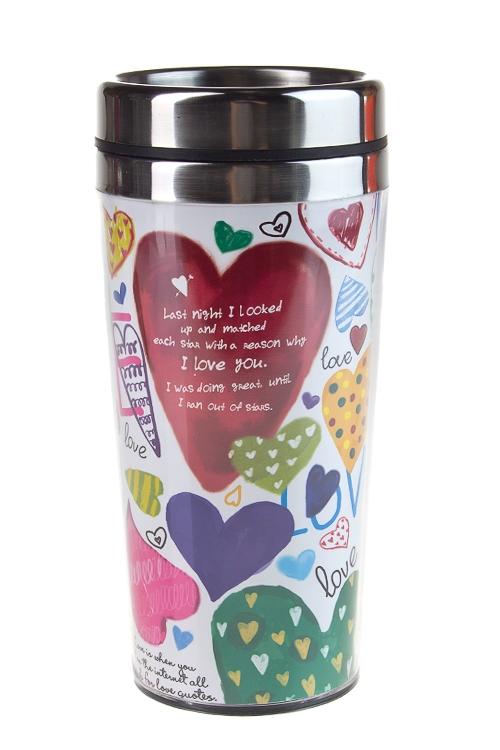 """Термокружки и стаканы для чая/кофе Красный куб Термокружка с крышкой """"Любовь"""""""