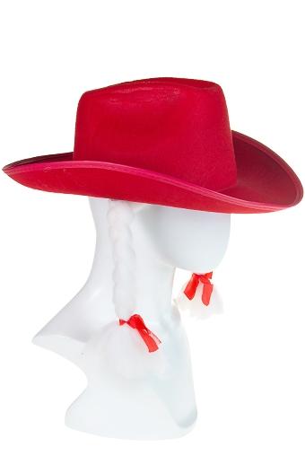 """Маскарадные костюмы Красный куб Шляпа маскарадная для взрослых """"Ковбойская с косичками"""""""