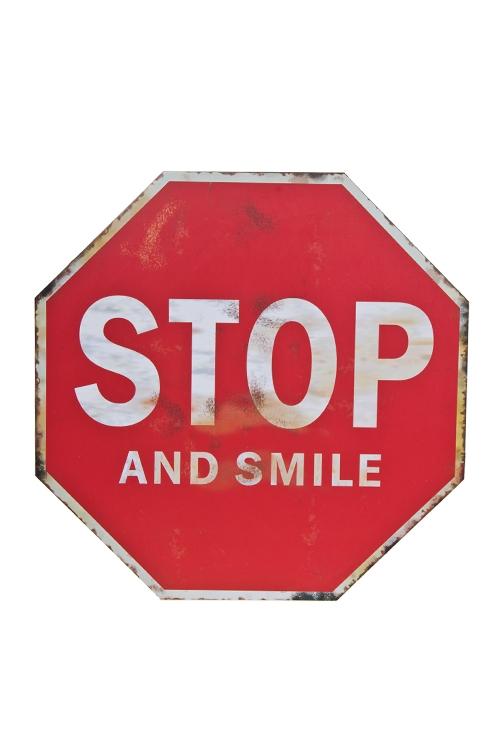 """Украшения на стену Красный куб Украшение для интерьера настенное """"Дорожный знак - Улыбнись"""""""