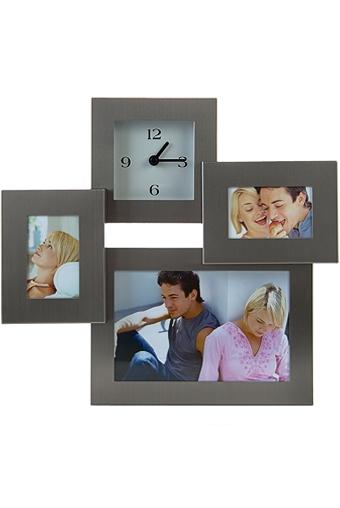 """Металлические фоторамки Красный куб Рамка для 3-х фото с часами """"Счастливые часы"""""""