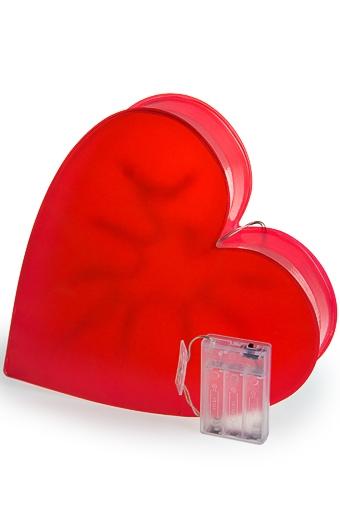 """Декор с подсветкой Красный куб Украшение для интерьера светящееся """"Сердце"""""""