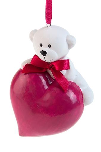 """Декоративные гирлянды и подвески Красный куб Фигурка """"Мишка на сердце"""""""