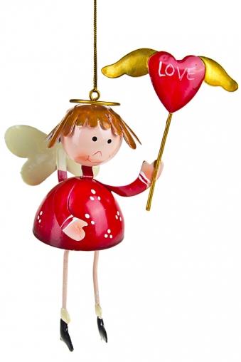 """Декоративные гирлянды и подвески Красный куб Фигурка """"Счастливый ангелочек"""""""