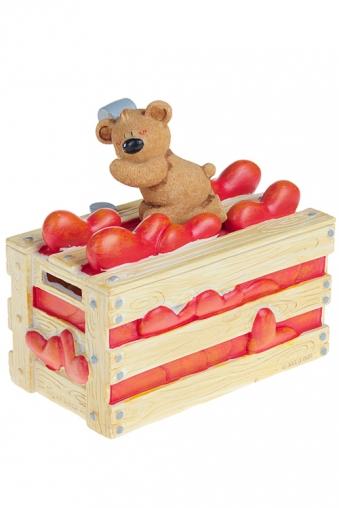 """Копилки и сейфы Красный куб Копилка """"Ящик с сердцами"""""""