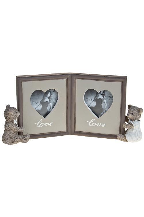 """Рамки для нескольких фото Красный куб Рамка для 2-х фото """"Влюбленные мишки"""""""