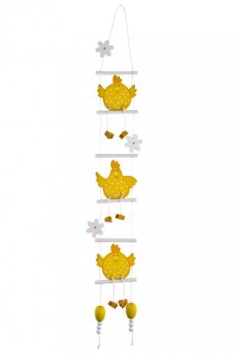 """Декоративные гирлянды и подвески Красный куб Украшение декоративное """"Цыплята на качелях"""""""