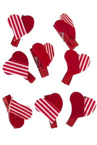 """Декоративные прищепки Красный куб Набор сувениров """"Полосатые сердца"""""""