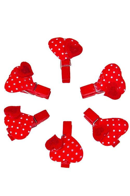 """Декоративные прищепки Красный куб Набор украшений декор. """"Дуэт сердец"""""""