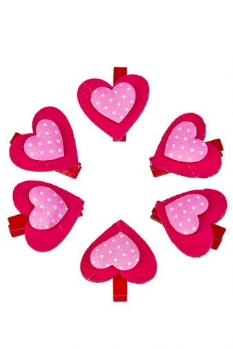 """Декоративные прищепки Красный куб Набор украшений декор. """"Розовые сердца"""""""