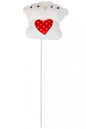 """Сувениры на палке Красный куб Украшение декоративное """"Влюбленные мишки"""""""