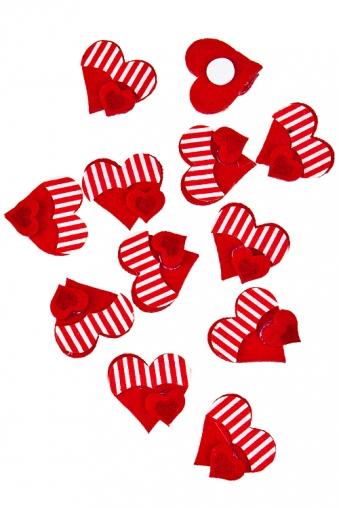 """Сувениры на липучке Красный куб Набор украшений декоративных """"Полосатые сердца"""""""