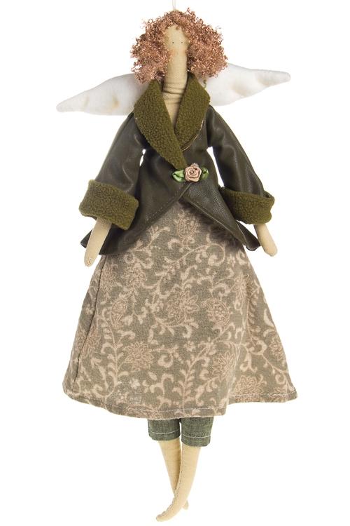 """Сувениры для женщин Красный куб Кукла мягконабивная """"Тильда - Зеленый ангелочек"""""""
