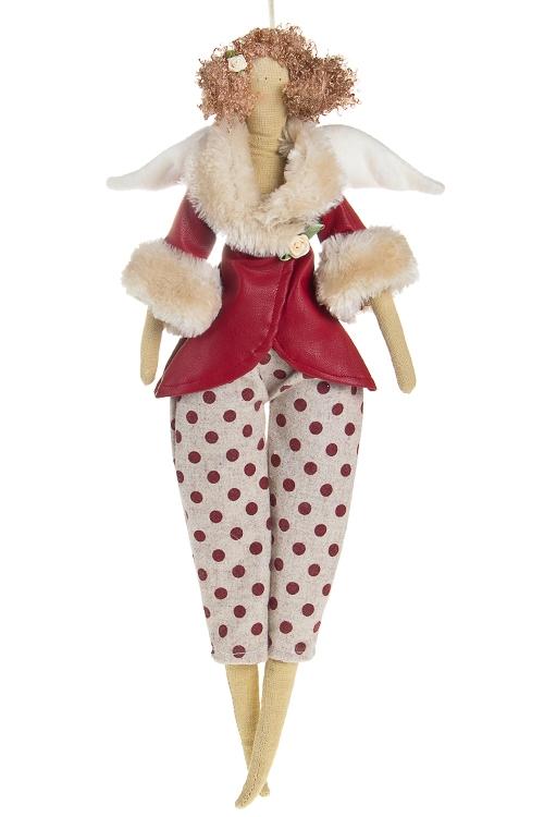 """Сувениры для женщин Красный куб Кукла мягконабивная """"Тильда - Ангелочек в горошек"""""""