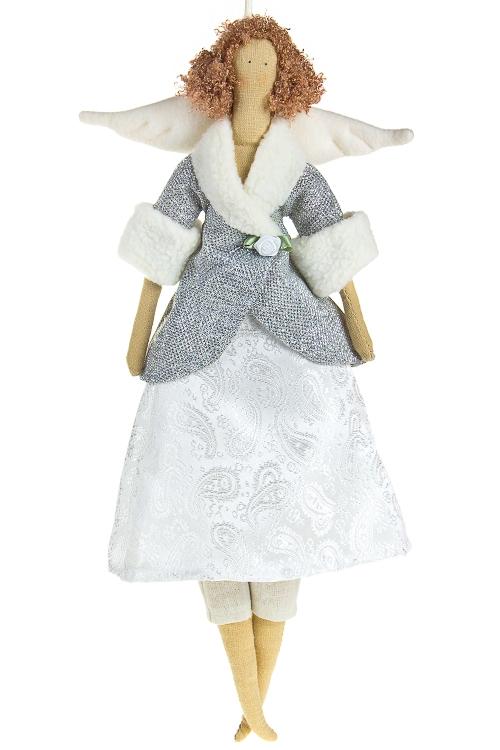 """Сувениры для женщин Красный куб Кукла мягконабивная """"Тильда - Серебристый ангелочек"""""""