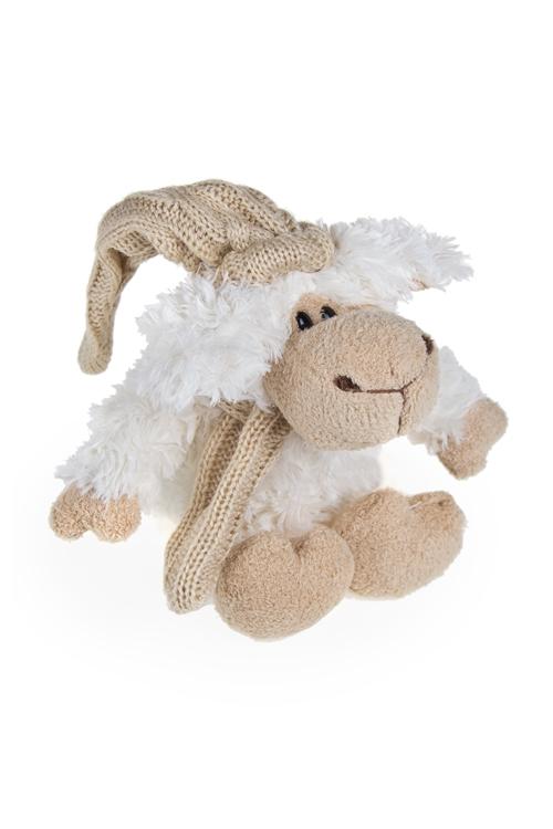 """Мягкие игрушки на Новый Год Красный куб Игрушка мягкая """"Зимняя овечка в шапочке"""""""