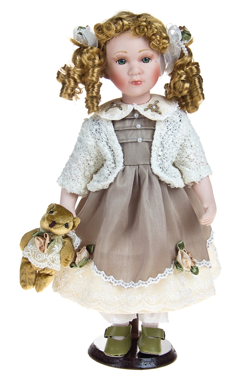 """Фарфоровые куклы Красный куб Кукла """"Кудряшка с мишкой"""""""