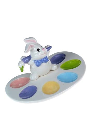 """Подставки для яиц Красный куб Блюдо для яиц """"Зайка на палитре"""""""