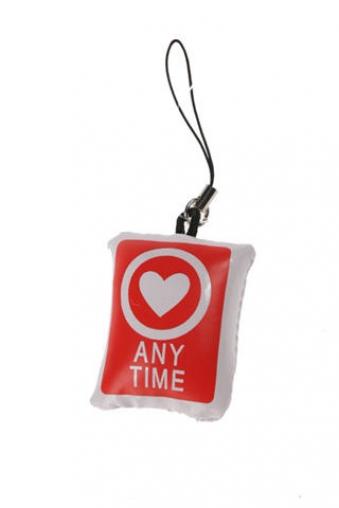 """Ангелочки и дьяволята Красный куб Украшение для мобильного телефона """"Будь готов влюбиться!"""""""