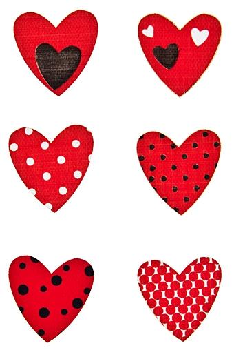 """Наклейки и аппликации Красный куб Набор наклеек """"Красные сердечки"""""""
