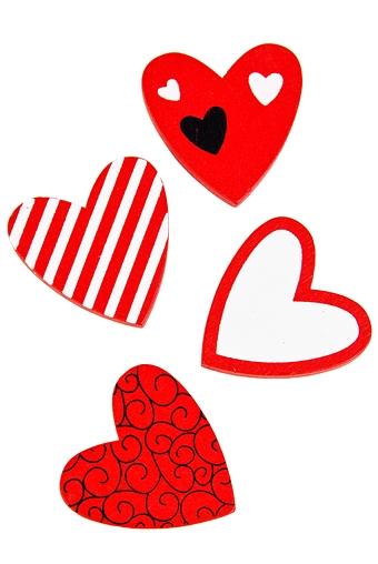 """Магниты Красный куб Набор держателей-магнитов """"Красные сердца"""""""