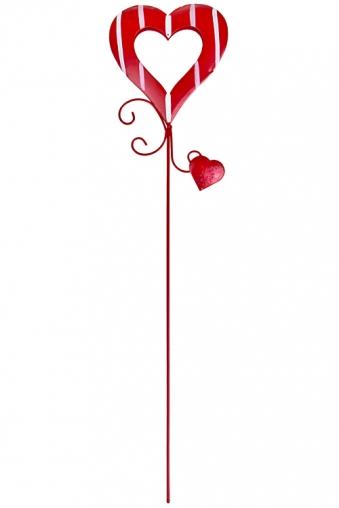 """Сувениры на палке Красный куб Украшение декоративное """"Полосатое сердце"""""""
