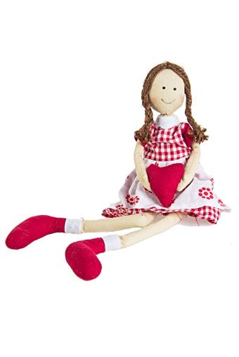 """Текстильные игрушки Красный куб Игрушка мягкая """"Девочка с сердцем"""""""