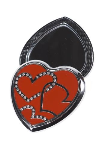 """Зеркальца и таблетницы Красный куб Зеркало двойное """"Сердца"""""""