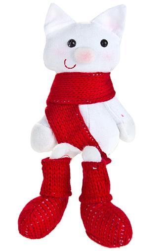 """Плюшевые игрушки Красный куб Игрушка мягкая """"Котик в шарфике"""""""
