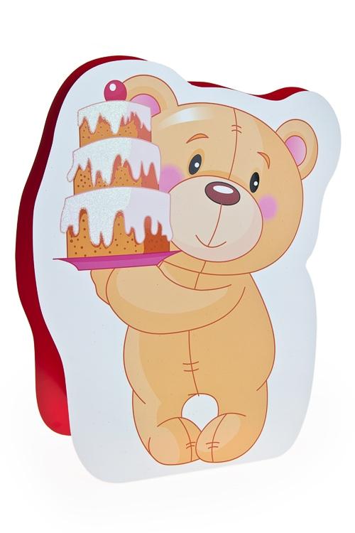 """Пакеты «С Днем рождения» Красный куб Пакет подарочный """"Мишка с тортиком"""""""
